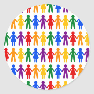 虹の人々パターン ラウンドシール
