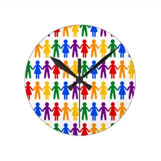 虹の人々パターン ラウンド壁時計