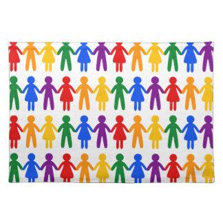 虹の人々パターン ランチョンマット