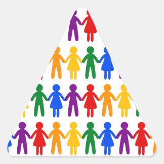 虹の人々パターン 三角形シール