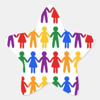 虹の人々パターン 星シール