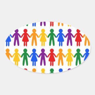 虹の人々パターン 楕円形シール