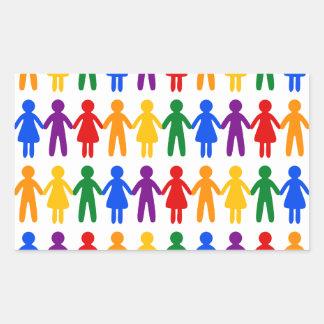 虹の人々パターン 長方形シール
