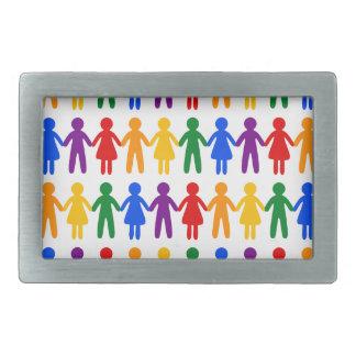 虹の人々パターン 長方形ベルトバックル