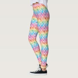 虹の人魚のスケールの水彩画のレギンス レギンス
