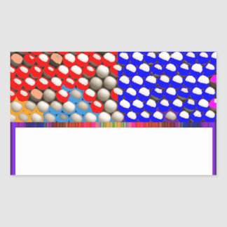 虹の低下: カラフルなドット・パターン 長方形シール