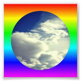虹の円のボーダー フォトプリント