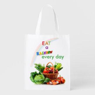 虹の再使用可能な買い物袋を食べて下さい エコバッグ