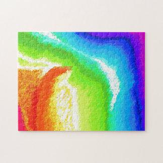 虹の勾配の毛皮のガラスパズル ジグソーパズル