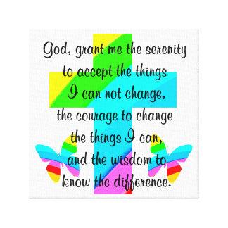 虹の十字および蝶平静の祈りの言葉のデザイン キャンバスプリント