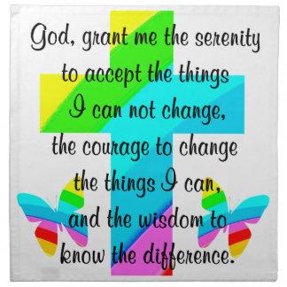 虹の十字および蝶平静の祈りの言葉のデザイン ナプキンクロス