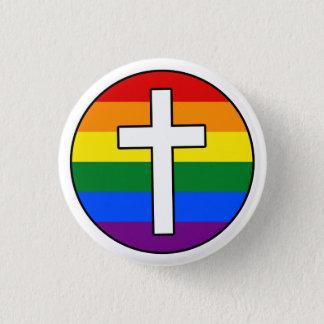 虹の十字ボタン 3.2CM 丸型バッジ