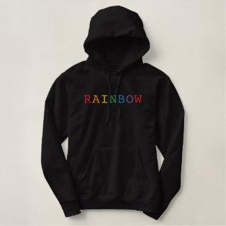 虹の単語によって刺繍されるフード付きスウェットシャツ 刺繍入りパーカ