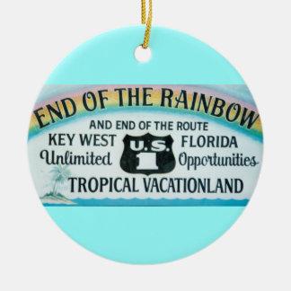 虹の印のオーナメントのKey Westフロリダの端 セラミックオーナメント
