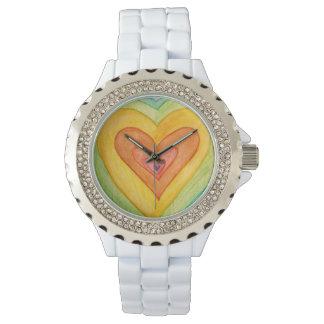 虹の友情のハートは腕時計をカスタム設計します 腕時計
