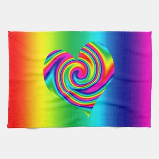 虹の回転のハート キッチンタオル