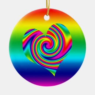 虹の回転のハート セラミックオーナメント