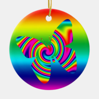 虹の回転の蝶 セラミックオーナメント