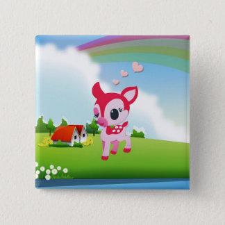 虹の国場面のかわいい愛シカの子鹿 5.1CM 正方形バッジ