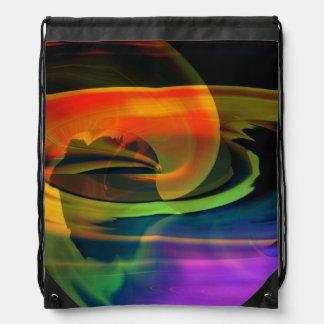 虹の外国の景色のドローストリングのバックパック ナップサック