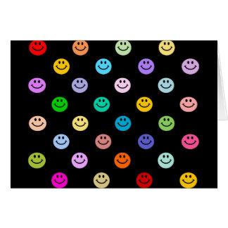 虹の多彩なスマイリーフェイスパターン カード