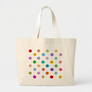 虹の多彩なスマイリーフェイスパターン ラージトートバッグ