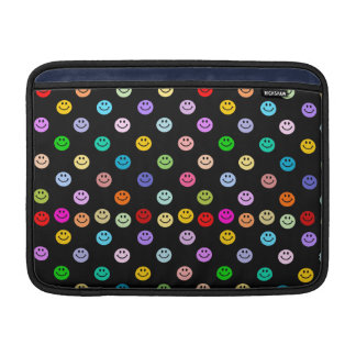 虹の多彩なスマイリーフェイスパターン MacBook スリーブ
