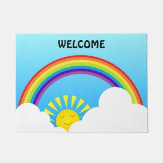 虹の太陽および雲 ドアマット