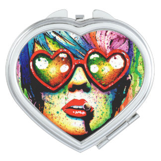 虹の女の子のコンパクトの鏡
