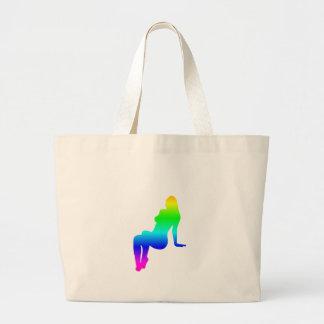 虹の女性シルエット ラージトートバッグ