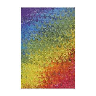虹の孔雀の大理石 キャンバスプリント