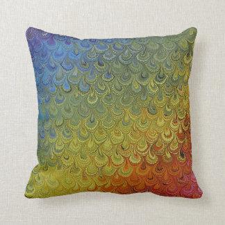 虹の孔雀の大理石 クッション