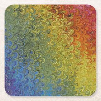 虹の孔雀の大理石 スクエアペーパーコースター