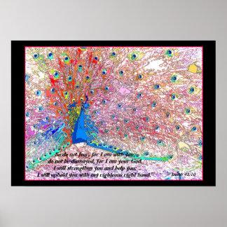 虹の孔雀の芸術のアイザイアの41:10のプリント ポスター