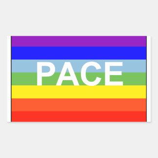 虹の平和旗 長方形シール