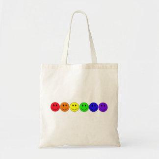 虹の幸福のにこやかなバッグ トートバッグ