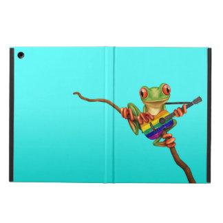 虹の旗のギターの青を遊んでいるアマガエル iPad AIRケース