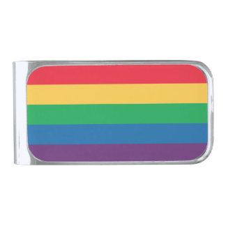 虹の旗のプライドのマネークリップ シルバー マネークリップ