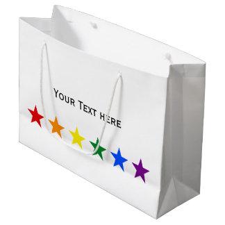 虹の旗の星 + あなたのアイディア ラージペーパーバッグ