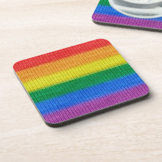 虹の旗の編み物のストライプの継ぎ目が無いパターン コースター
