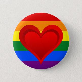 虹の旗の色及び赤いハート + あなたのアイディア 5.7CM 丸型バッジ