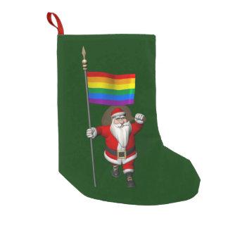 虹の旗を持つ誇り高いサンタクロース スモールクリスマスストッキング