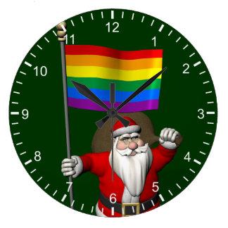 虹の旗を持つ誇り高いサンタクロース ラージ壁時計
