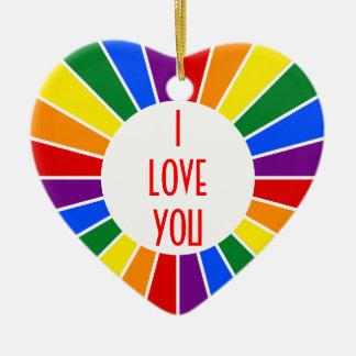 虹の旗ボタン光線 + あなたの印か文字 セラミックオーナメント