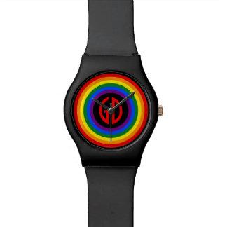 虹の旗ボタン + あなたの印かモノグラム 腕時計