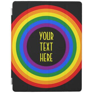 虹の旗ボタン + あなたの印か文字 iPadスマートカバー
