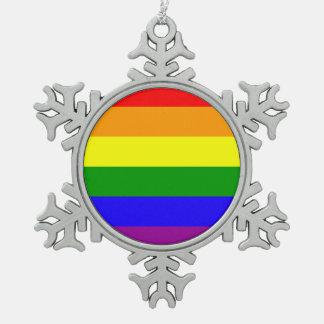 虹の旗 スノーフレークピューターオーナメント