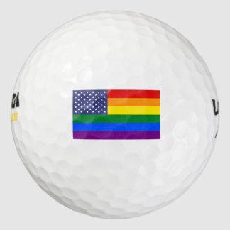 虹の星及びストライプな旗のゴルフ・ボール ゴルフボール
