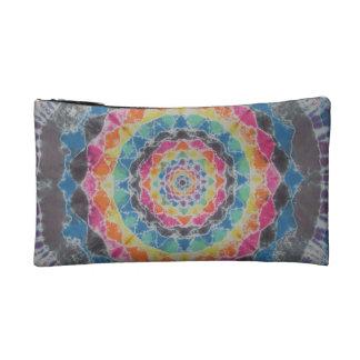 虹の曼荼羅の絞り染めのWristlet コスメティックバッグ