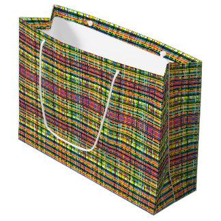 虹の格子縞のギフトバッグ ラージペーパーバッグ
